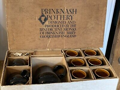 Prinknash Pottery Coffee 6 Cups & Saucers, Sugar Bowl & Jug MINT Studio Pottery • 70£