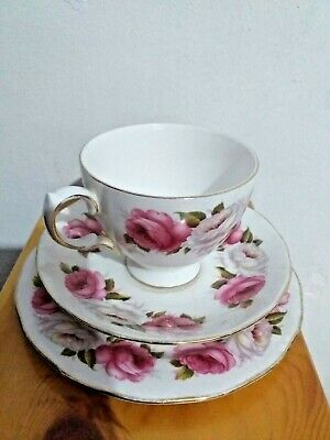 Tea Trio Princess Roses Queen Anne Bone China 8605 Cup Saucer Side Plate UK Made • 6.99£