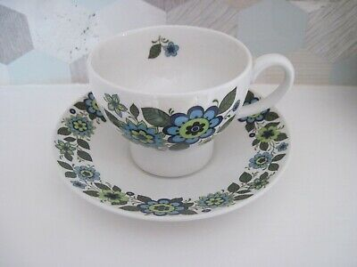 Midwinter Mq2 Shape Cup And Saucer. April Flowers. Crazing. • 3£