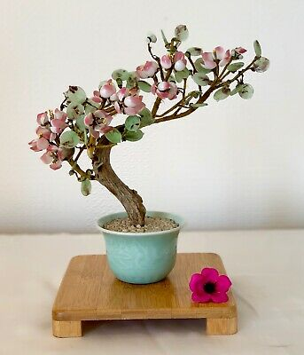 Vintage Chinese Glass Bonsai Tree In Ceramic Pot 9 Ins Tall • 25.99£
