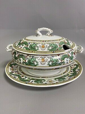 Antique George Jones & Sons Green & White  DRAGON  Small Tureen & Under Plate  • 20£