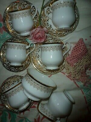 Vintage Beautiful Royal Albert Tea Set White And Gold Mismatched 12 Pieces • 14£