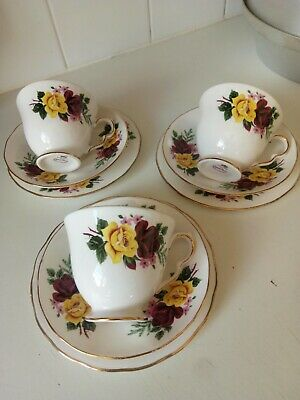 Queen Anne Bone China Vintage Cups Saucers Side Plates X 3 Sets Roses • 15£