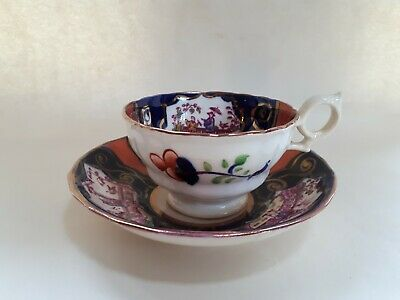 Antique Gaudy Welsh Cup & Saucer, Chinoiserie Pattern • 6.50£