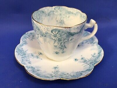 Foley Wileman Bone China Duo Cup And Saucer Lily Shape Fern Print Pattern • 7.99£