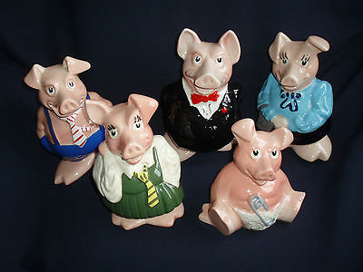Collectable Wade Set Of Five Pigs , Moneyboxes,very Good Condition • 97.75£