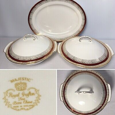Royal Grafton - Majestic Red 2x Lidded Tureens + Serving Platter - Excellent Con • 29.99£