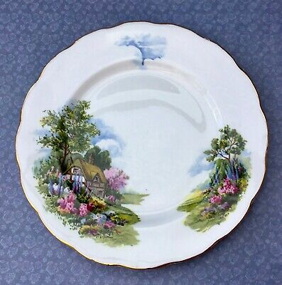 Royal Vale Tea Plate Set Of 4 - Thatched Cottage Garden - Gilded Bone China • 15£