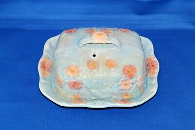 Vintage 1950s Melba Ware Pale Blue & Pink Flowers Butter Cheese Dish Wain & Sons • 14.99£