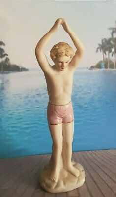 Superb Art Deco 1920's Style Statue Of A Young Boy Swimmer / Diver • 10.50£