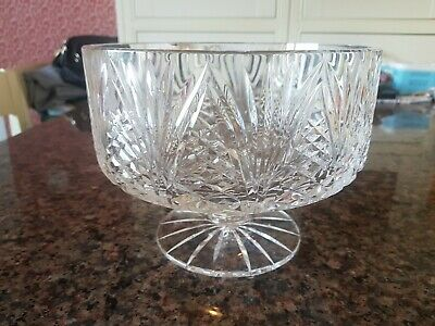 Large Vintage Irish Tyrone Crystal Hand Cut Footed Pedestal Bowl • 55.99£