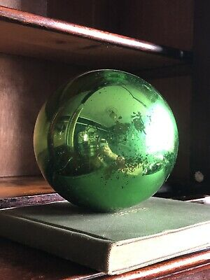 Authentic Antique Witches Ball. Green Mercury Glass. 6 Inches • 140£