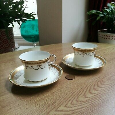 Antique Fenton Bone China 2 X Cups & Saucers Gold White Exceptional Condition • 9£