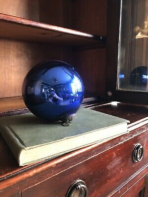 Authentic Antique Witches Ball. Blue Mercury Glass. 5 Inches • 140£