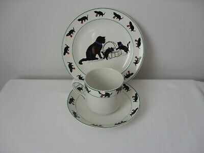 Antique Grimwades Black Cats Nursery Ware Trio Cup Saucer And Plate All A/F • 20£