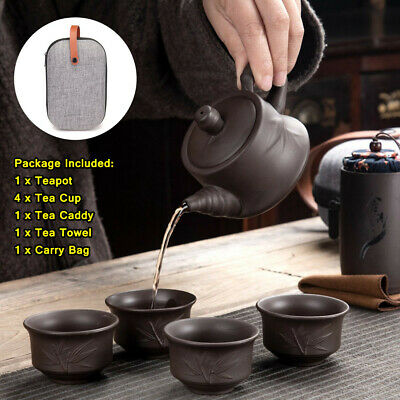 Portable Tea Set Chinese Gongfu Ceremony Purple Clay Teapot Cups Caddy Carry Bag • 20.21£