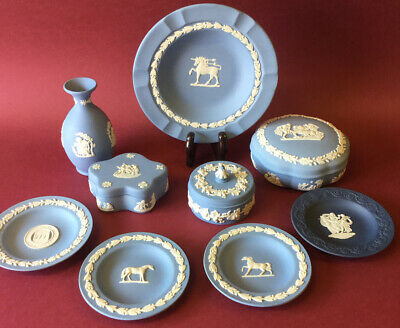 WEDGWOOD Jasperware Plate, Vase, Bowl, Trinket, George Stubbs Pin Dish Job Lot • 13.50£