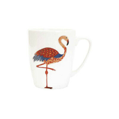Queens Paradise Birds Flamingo Fine China 400ml Oak Mug • 10.99£