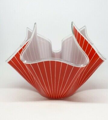 Vintage Retro Chance Glass Handkerchief Vase Large Red White Stripes  • 18£