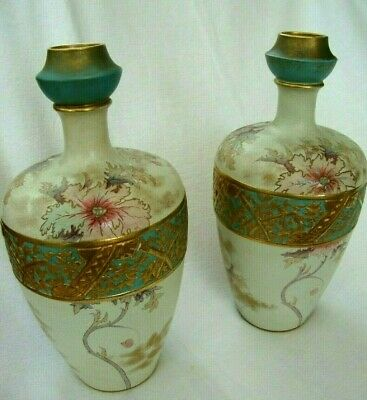Antique Victorian Large Pair Old Hall Christoper Dresser Style Pottery Vases  • 125£