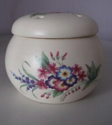 Vintage AXE VALE Lidded Pomander Pot - Pretty Hand Painted Floral Decoration • 3£