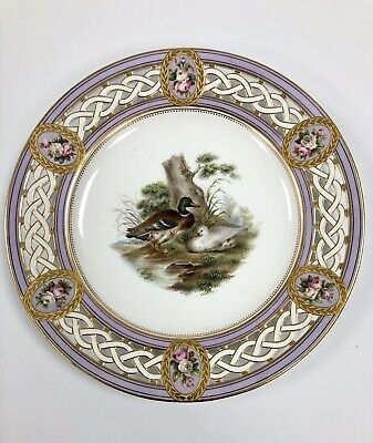 Minton 19th Century (c.1840) Reticulated Plate-Handpainted Ornithological Scene. • 125£