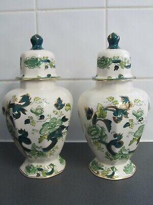 2 X Mason's Ironstone Pair Of Lidded Jar Chartreuse Great Condition 24.5cms • 29.95£