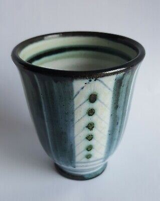 Vintage Rye Pottery Blue White Hand Painted Beaker/Cup • 13.99£