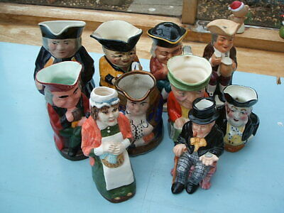 Small Collection Lot Of 10 Old Toby Character Jugs  • 40£