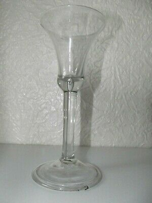 GEORGIAN PLAIN STEM WINE GLASS, C1750 With FOLDED FOOT And BELL SHAPED BOWL • 89£