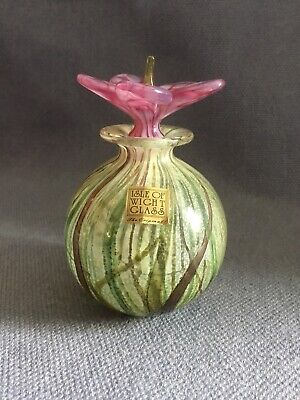 Lovely Isle Of Wight Studio Glass Scent Bottle With Flower Stopper ~Signed 2007 • 150£