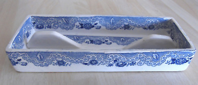 Blue & White Pearlware Pen Tray • 15£