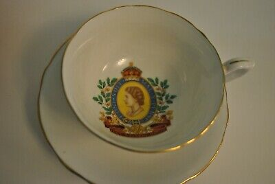 Pair Of Queen Elizabeth II Coronation 1953 Windsor Bone China Cup & Saucer Sets • 9£