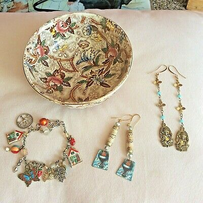 House Clearance Vintage Maling Pottery Dish, Earrings And Bracelet • 7.99£