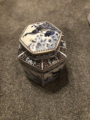 Unusual Hexaganol Japanese Fine Porcelain Jar With Lid With Peacock Design • 25£