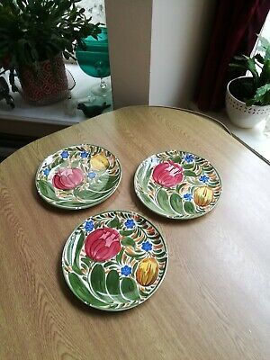 Royal Victoria Pottery Wade 3 X Dinner Plates 9.5  Tulips All Stunning Condition • 21.50£