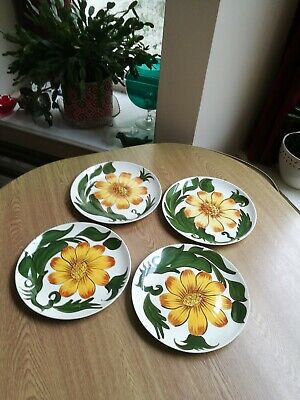 Royal Victoria Pottery Wade 4 X Dinner Plates 9.5  Sunflower Hand Painted  • 28.75£