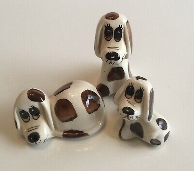 PHILIP LAURESTON DOG FAMILY (3) BROWN SPOTS Babbacombe Pottery Vintage • 7.50£