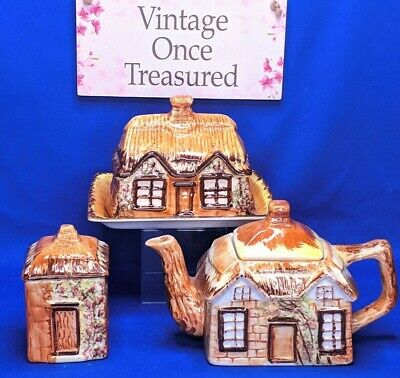 Price Kensington Cottage Ware * Tea Pot, Butter Cheese Dish, Sugar * Vintage VGC • 13.75£