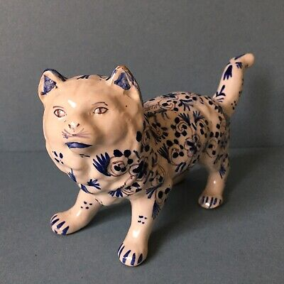 VINTAGE FRENCH FAIENCE - ROUEN TIN GLAZED BLUE AND WHITE CAT 10cm Tall • 63£