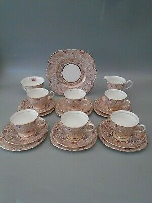 1940's COLCLOUGH GOLD CHINTZ  21 PIECE BONE CHINA TEA SET • 82.99£