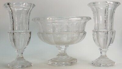 Goebel Crystal Footed Bowl And Matching Pair Of Vases • 75£