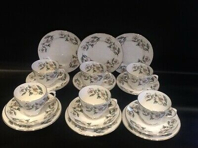 Crown Staffordshire Christmas Rose China Trios X 6 Cups Saucers Plates • 30£