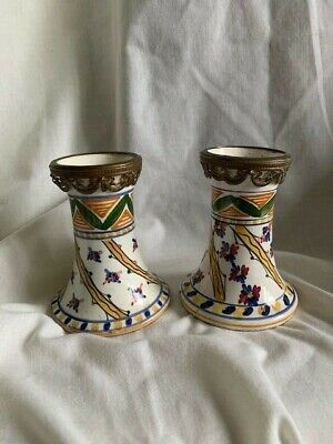 Antique Pair Hand Painted Faience Vases With Belle Époque Style Brass Galleries • 25£