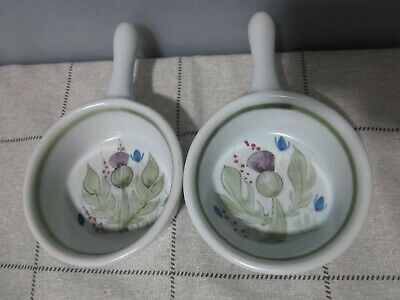 Two Vintage Scottish Buchan Portobello Stoneware Thistle Small Skillets • 1.99£