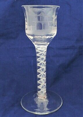 Georgian Wine Glass Opaque Twist Stem Chinoiserie Engraved Bowl Antique C 1760 • 325£