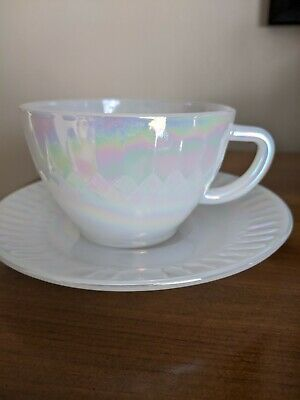 Federal Glass Moonglow Cup And Saucer • 20£