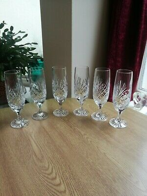 Vintage Crystal 6 X Champagne Flutes Heavy Quality Fan Cut Clear And Bright  • 19.50£