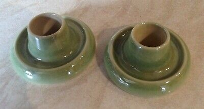 Two Green Wade Porcelain Candle Holders Excellent Condition • 1.90£