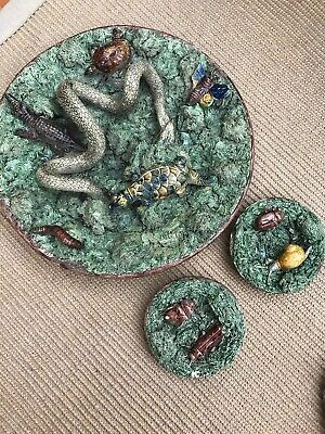 Majolica Snake Plate Snail Plate And Cockroach Plate • 1,000£